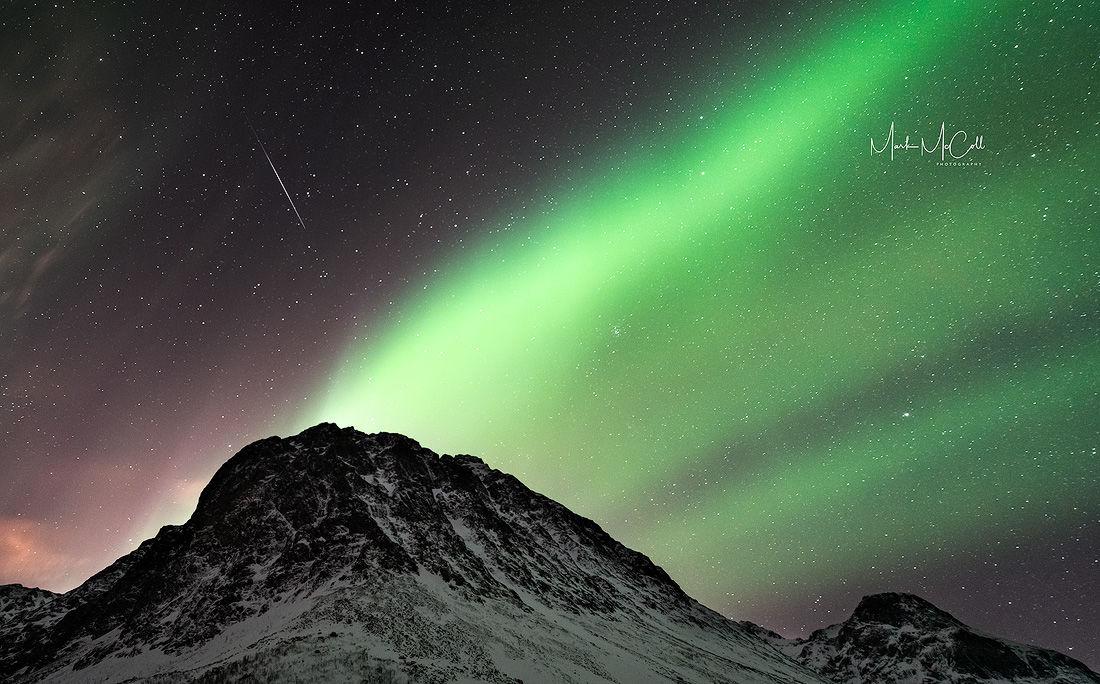 Aurora and meteor, near Tromso, Arctic Norway