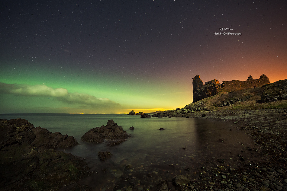 Aurora Borealis at Dunure Castle, Ayrshire, Scotland