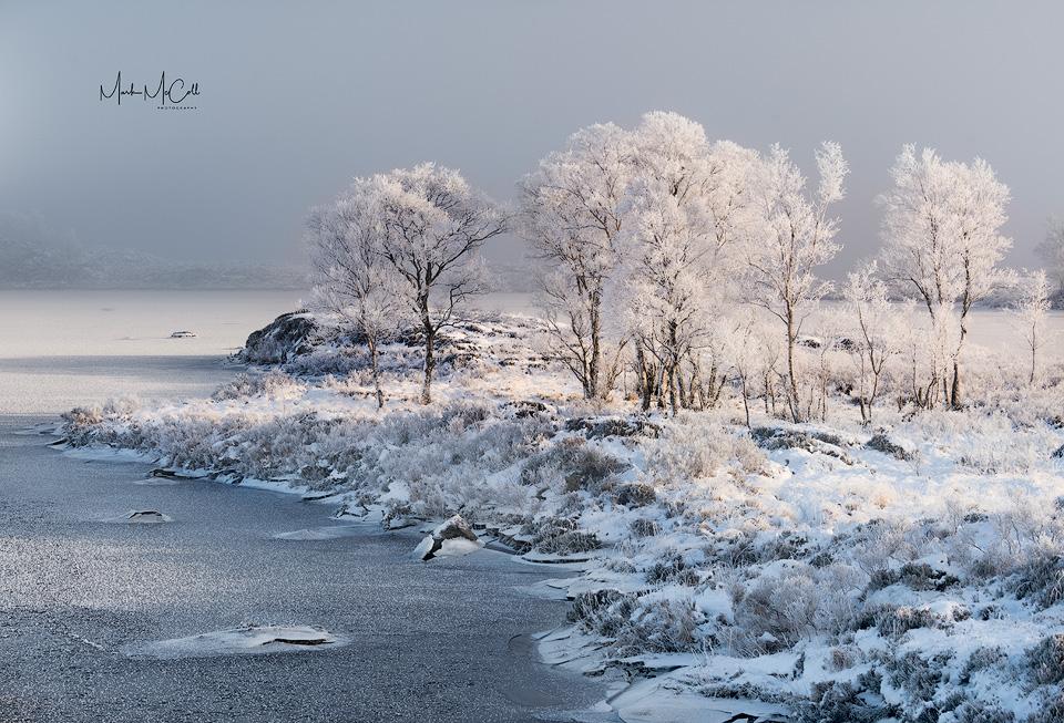 Hoarfrost and mist, Loch Ba, Rannoch Moor, Scotland