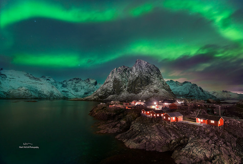 Aurora over Hamnoy, Lofoten islands, Arctic Norway