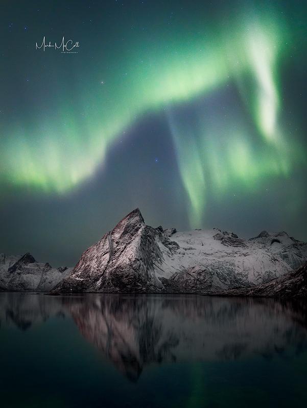Mountain aurora, Lofoten Islands, Norway