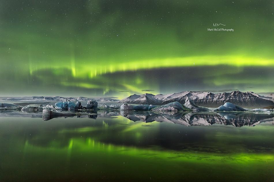 Aurora Borealis over Jokulsarlon, Iceland