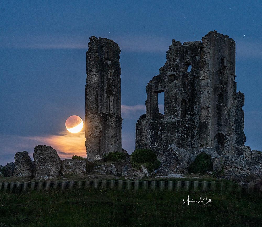 Lunar eclipse, Corfe Castle, Dorset, England