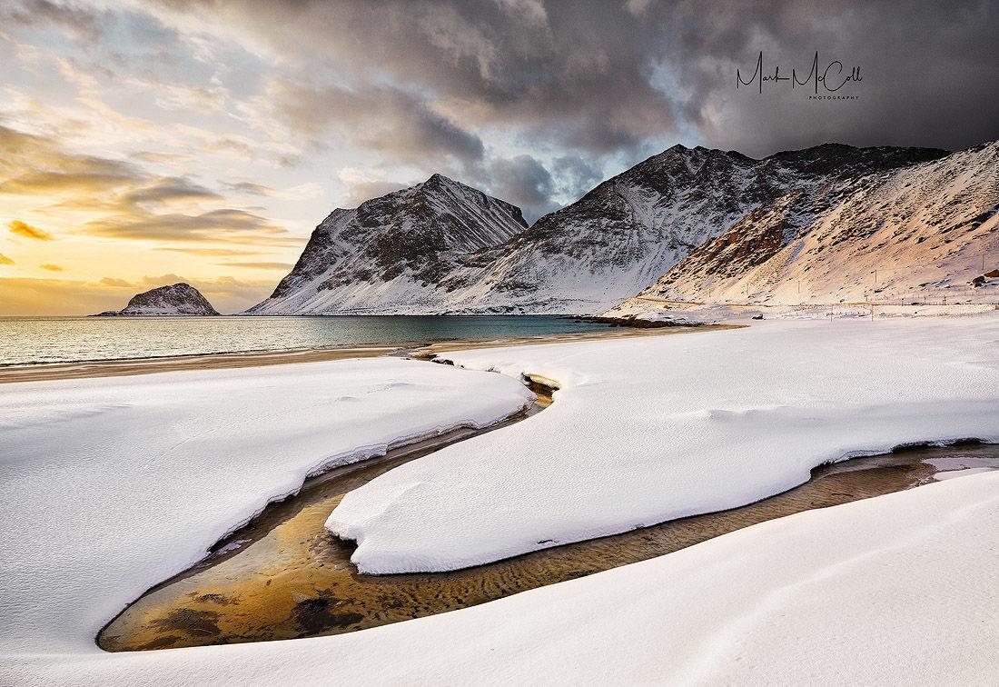 Meandering stream, Haukland, Lofoten islands