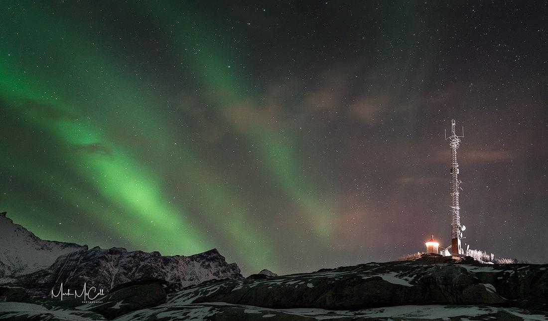 Radiocoms aurora, Senja, Arctic Norway