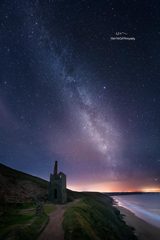 Wheal Coates tin mine under the stars, Cornwall