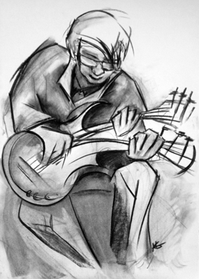 All About The Bass by M Mee  Charcoal on paper  SOLD