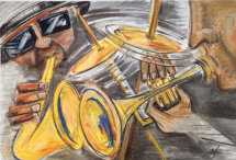 All About The Jazz. Pastel on paper by Margaret Mee SOLD
