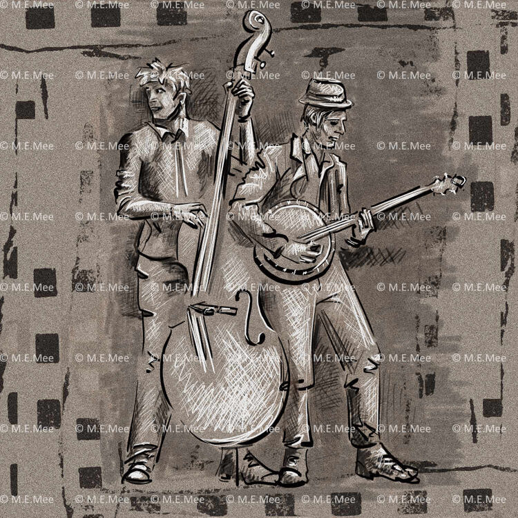 Bass and Banjo Digital painting Limited edition of 20 by M Mee