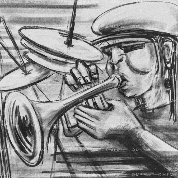 Blowing the Trumpet Digital painting Limited edition of 20 by M Mee