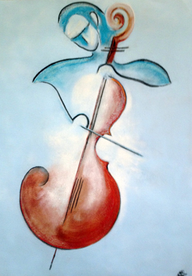 Blue Cellist by M-Mee  Pastel and charcooal on paper
