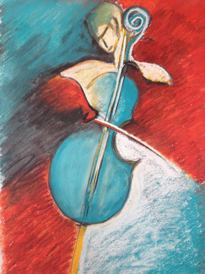 Blue Cello by M Mee  Pastel on paper