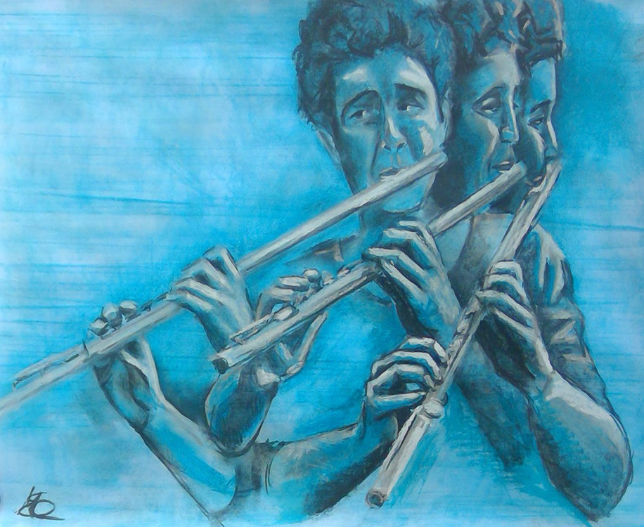 Blue Flute by Margaret Mee Charcoal on Paper