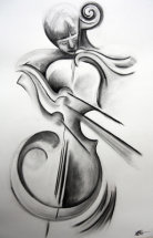 Cellist by M Mee  Charcoal on paper