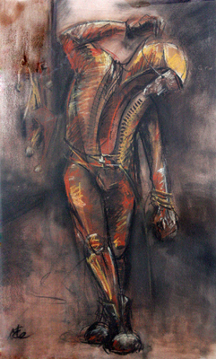 Curtain Call by M Mee  Pastel on paper
