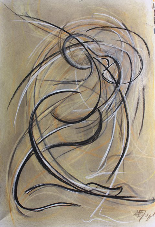 Dancer drawing1 Pastel on paper by Margaret Mee