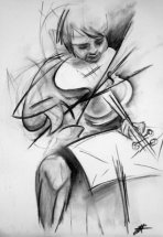 Fiddlesticks by M Mee  Charcoal on paper