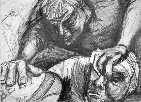 Foul Play by M Mee Graphite on paper
