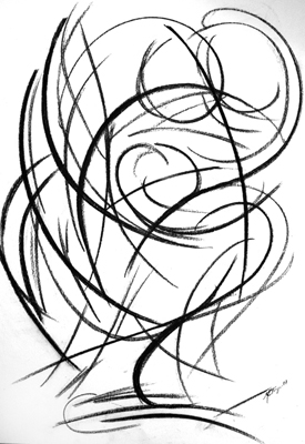 Fulcrum by M  Mee Charcoal on paper