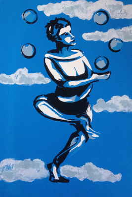 Head In The Clouds by M-Mee  Mixed media on paper