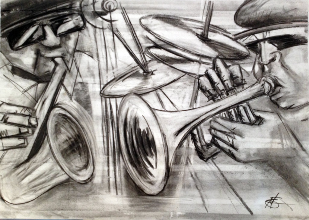 Jazz Duet. Charcoal on paper by Margaret Mee