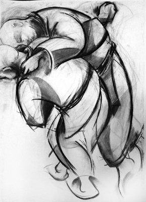 Jujitsu 4 by M  Mee Charcoal on paper