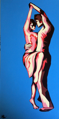 Latin Embrace by M Mee  Acrylic on canvas