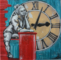 Passing Time by M Mee  Acrylic and metal leaf on canvas