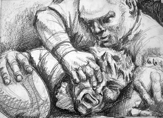 Scrum 1 by M  Mee Graphite on paper