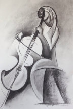 Solo Performance by M Mee  Charcoal on paper