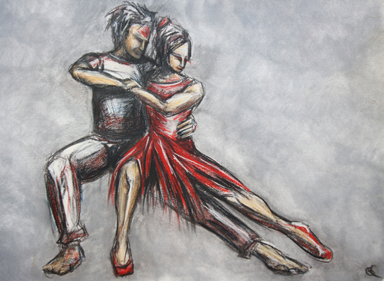 The Red Shoes by M Mee  Pastel on paper