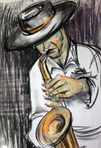 The Saxophonist  by M Mee  Pastel on paper SOLD