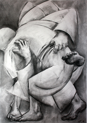 The Struggle by M Mee Charcoal on paper