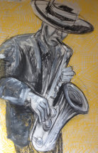 The Yellow Saxophone by M Mee  Pastel on paper  NFS