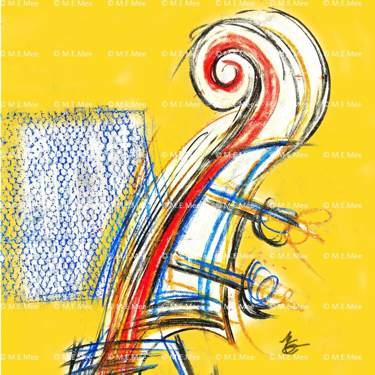 Yellow Scroll Digital Painting Unlimited prints available by M Mee