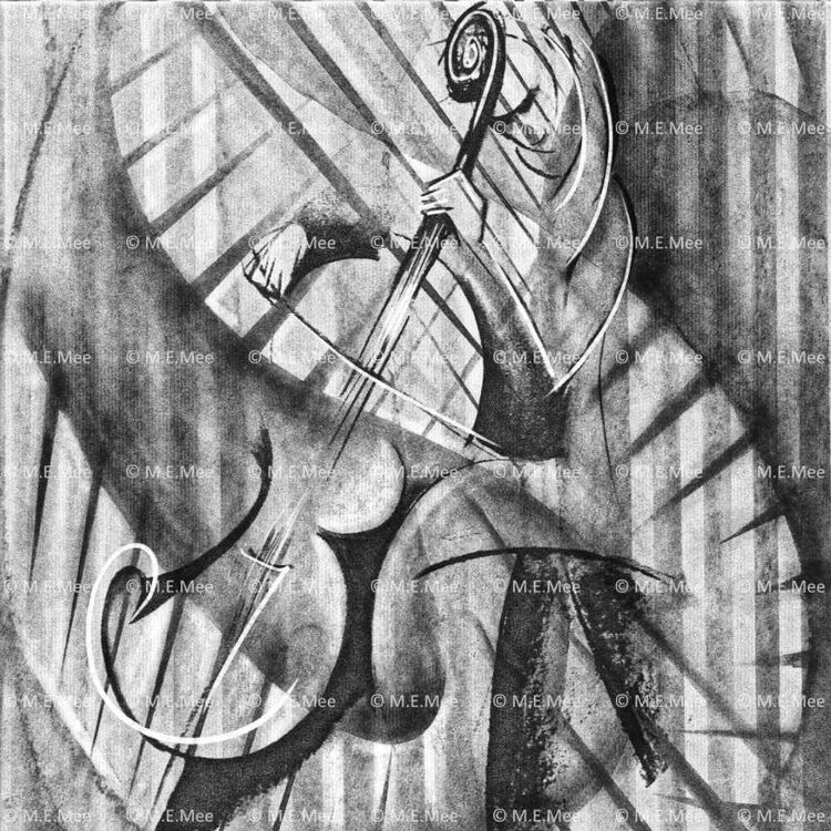 seated cellist highlightwebsite Digital painting Limited edition of 20
