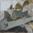 'Flying' paper collage on linen