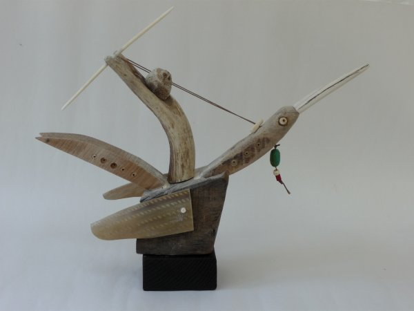 Stone carving cornwall: shamans journey wood horn bone etc h.20cm