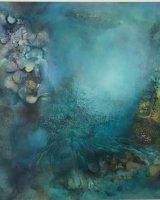 Under the sea-Blue Hug 96x96cm oil on canvas