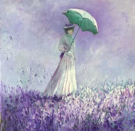 Lady with a parasol - after Monet