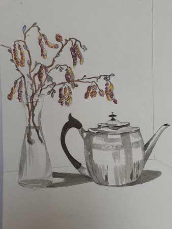 Teapot with alder catkins