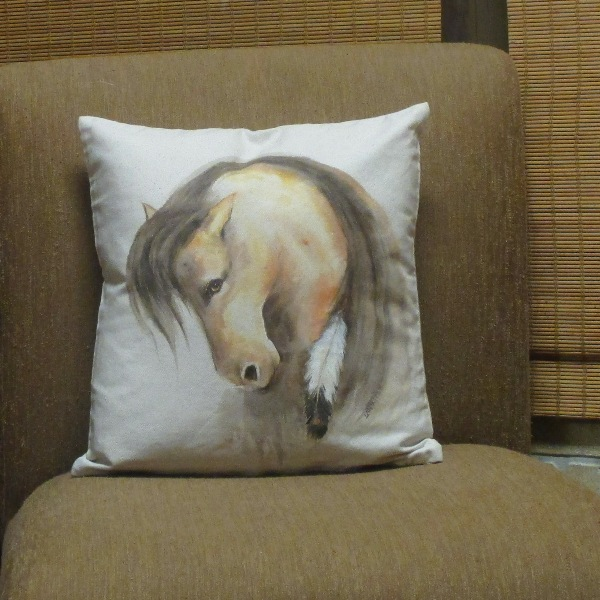 Mustang with Eagle Feather Pillow Cover