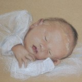 Pastel Baby on tan paper