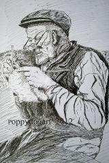 War pastime old man knitting