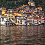 Buildings on the shore of Lake Como, Italy
