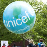 Campaigners for UNICEF at charity event in Hyde Park, London