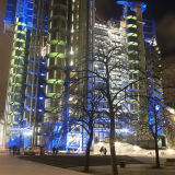 Lloyds of London building lit up at night