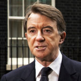 Lord Mandelson addresses journalists outside No.10 Downing Street, London
