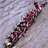 Rowing a Dragon Boat on the River Thames