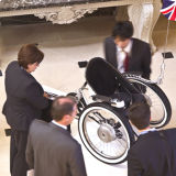 """Wheelchair on display at the """"British Business Embassy"""", during the Paralympics"""